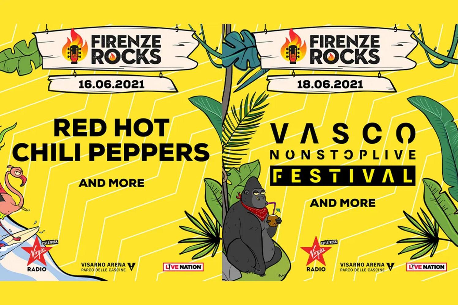 FIRENZE ROCKS 2021: confermati headliner RED HOT CHILI PEPPERS e VASCO ROSSI