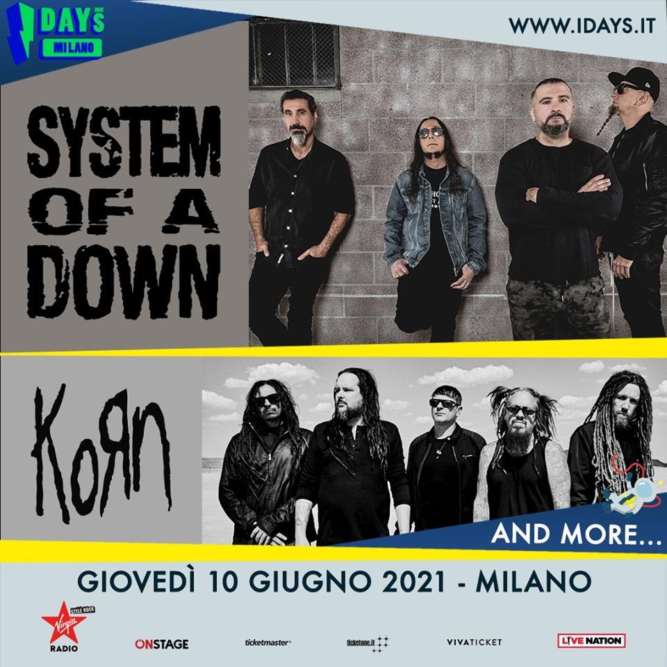 I-DAYS 2021: SYSTEM OF A DOWN e KORN riconfermati il 10 giugno 2021
