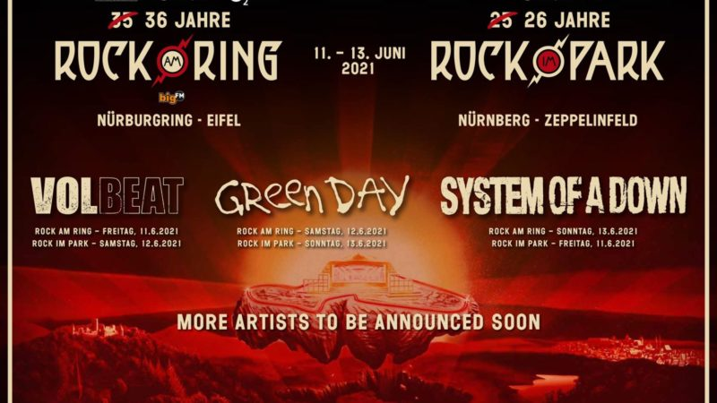 ROCK AM RING e ROCK IN PARK 2021: sempre headliner i VOLBEAT, GREEN DAY e SYSTEM OF A DOWN