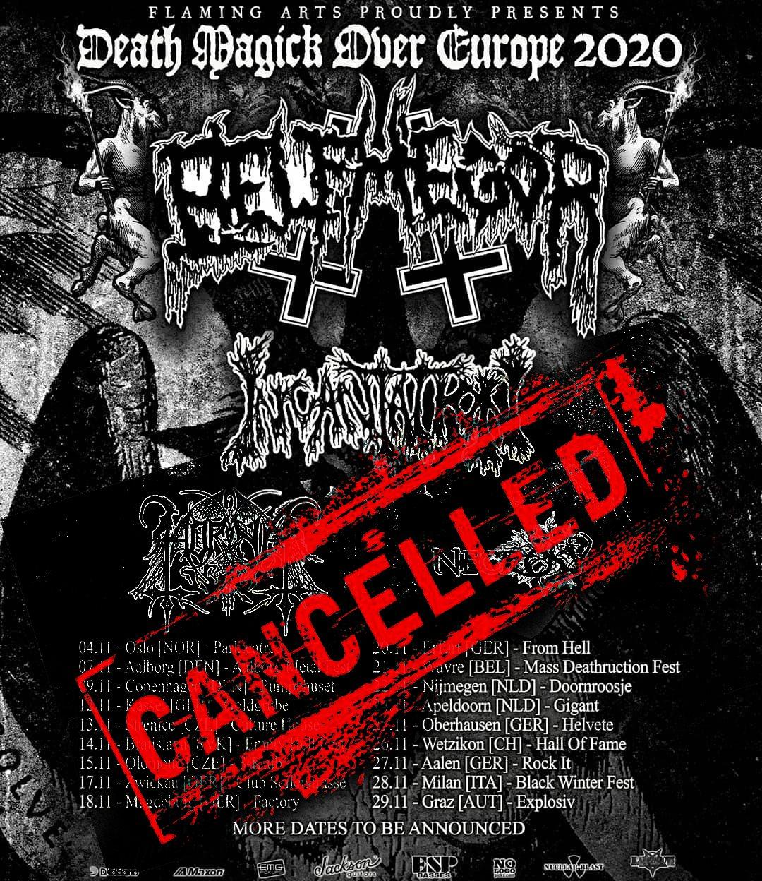 BELPHEGOR, INCANTATION, HORNA, NECROSY: il tour europeo è annullato