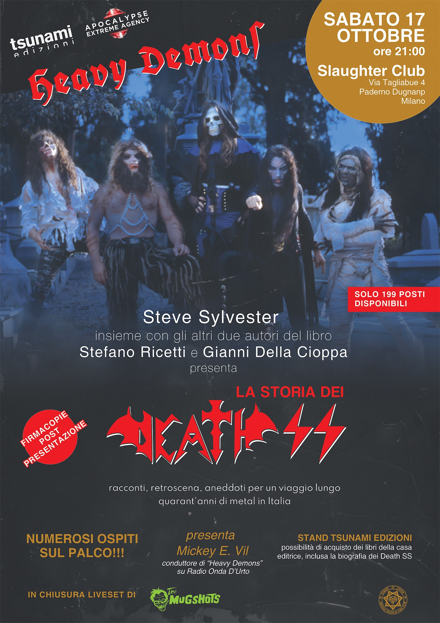 "DEATH SS: ""Heavy Demons Night"" Steve Sylvester presenterà allo Slaughter Club il libro ""La Storia dei Death SS"""