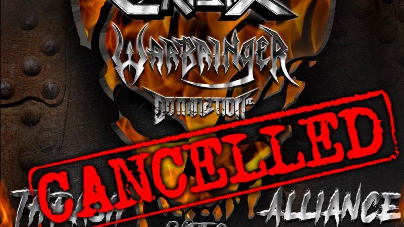 "DESTRUCTION: annunciano l'annullamento del tour europeo ""Thrash Alliance Fest part. 2"""