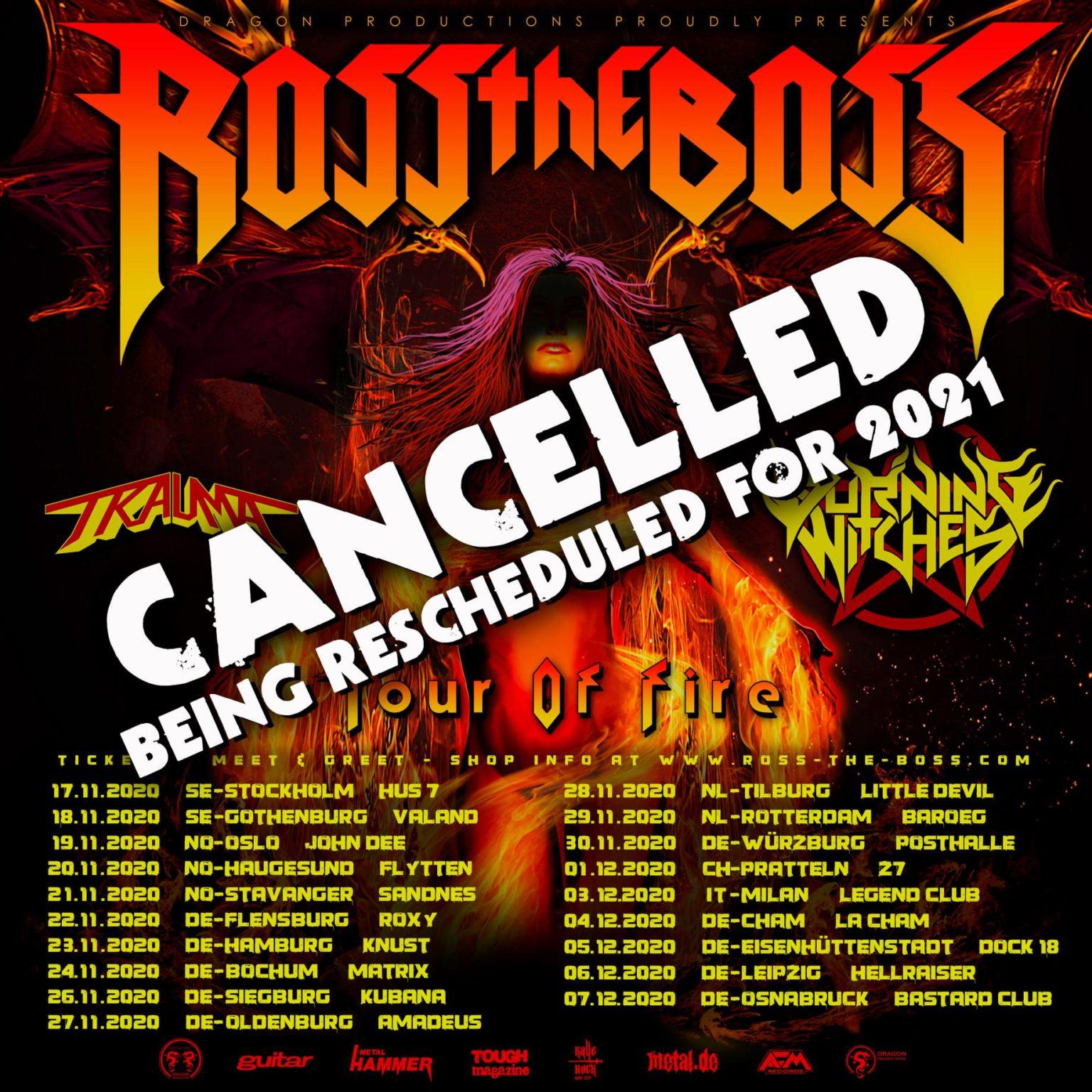 ROSS THE BOSS: cancellazione del tour europeo