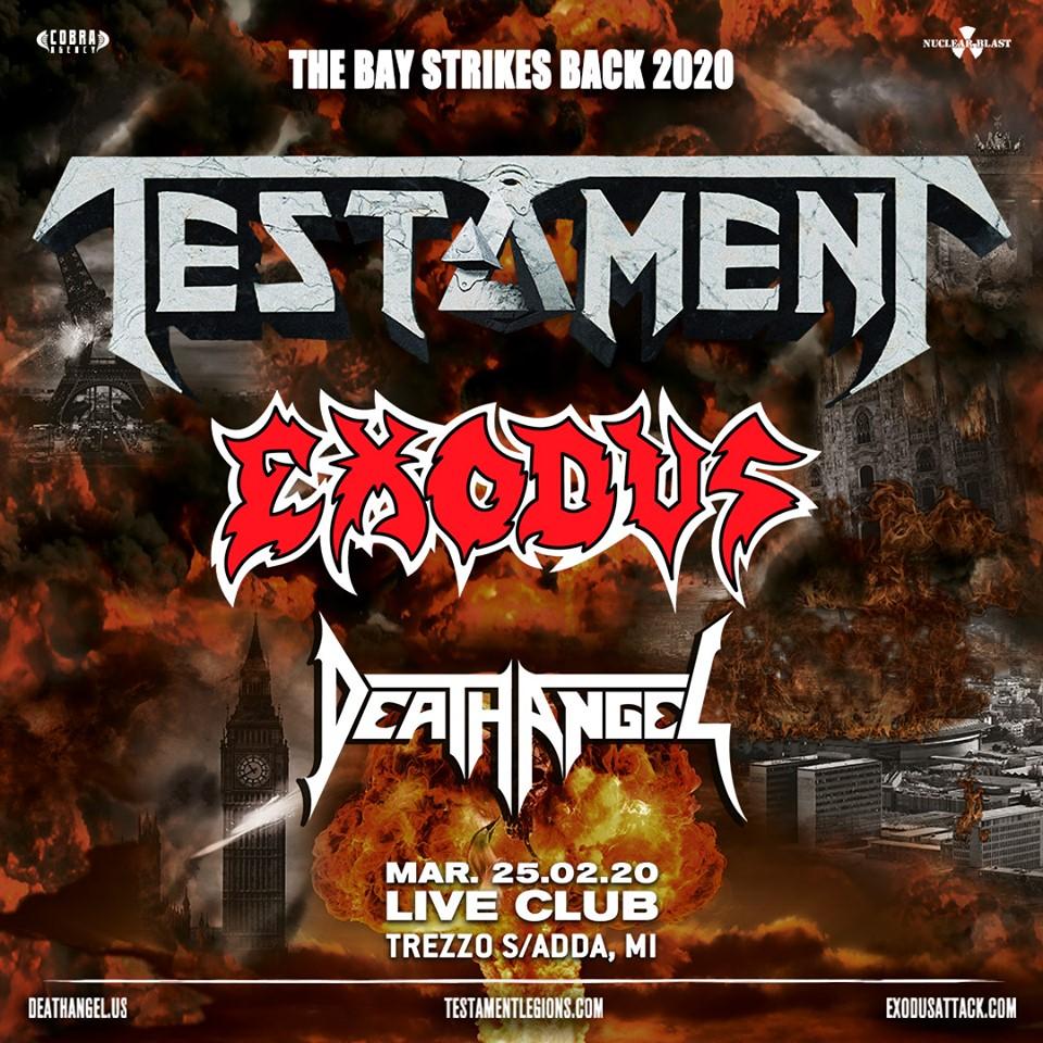 The Bay Strikes Back Tour 2020: la scadenza per richiedere i rimborsi dell'evento con TESTAMENT, EXODUS e DEATH ANGEL è rinviata