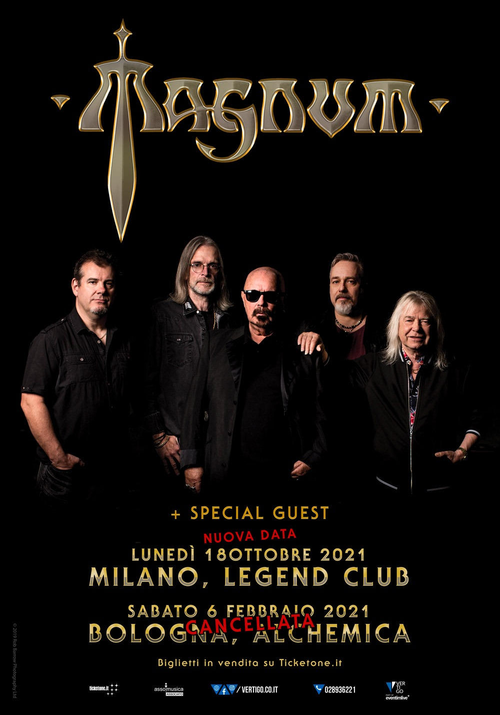 MAGNUM: rinviata la data al Legend Club, cancellata quella di Bologna