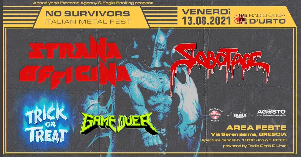 No Survivors Italian Metal Fest: in agosto a Brescia con STRANA OFFICINA, SABOTAGE e altri