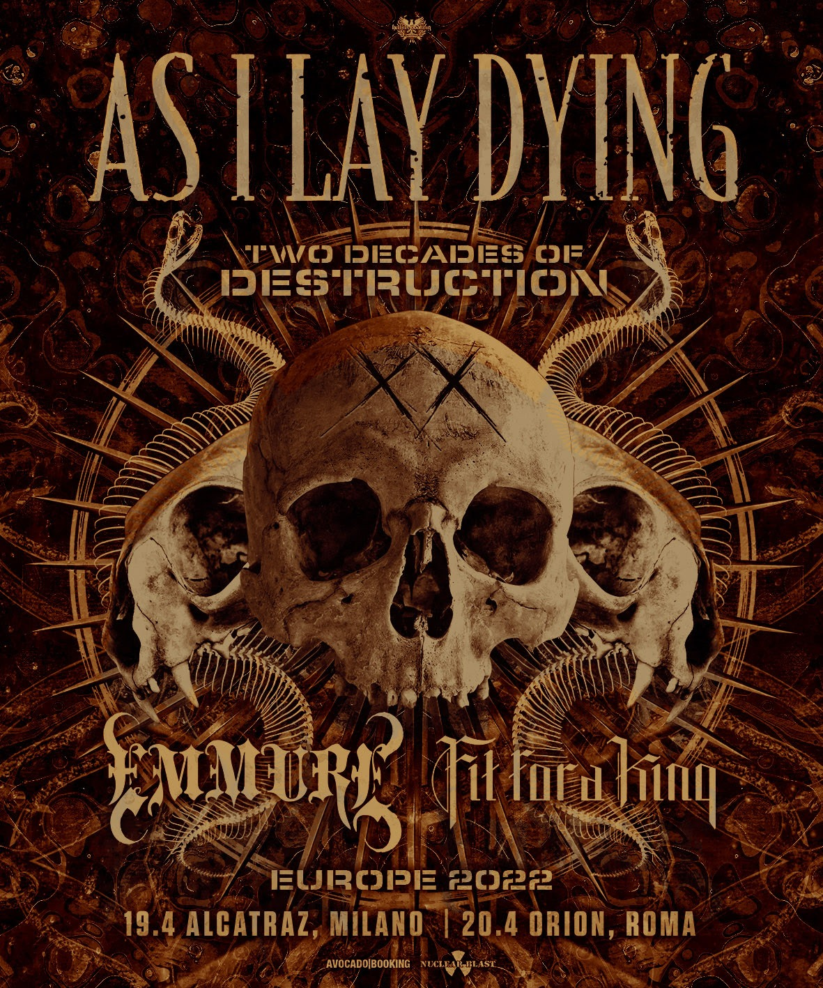 AS I LAY DYING, EMMURE, FIT FOR A KING: due date italiane nel 2022