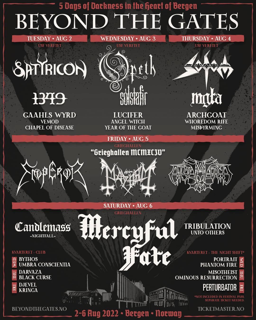 BEYOND THE GATES 2022: MERCYFUL FATE, EMPEROR, SATYRICON, OPETH, SODOM e altre band a Bergen