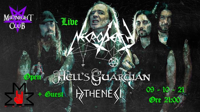 NECRODEATH + HELL'S GUARDIAN + ATHENESI: l'oscurità invade il Midnight Club